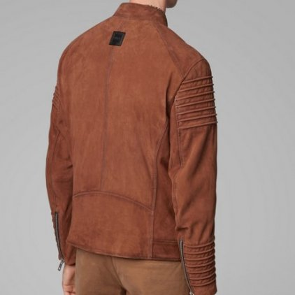 Heny Brown Bomber Leather Jacket