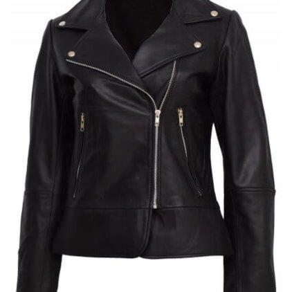 Kendall Women's Black Leather Biker Jacket