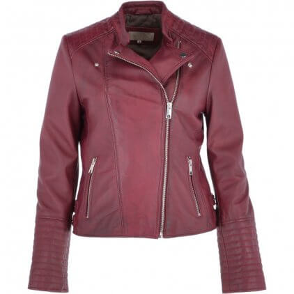 Sany Women's Maroon Vintage Leather Jacket