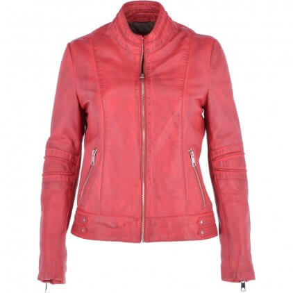 Quney Women's Red Vintage Leather Jacket