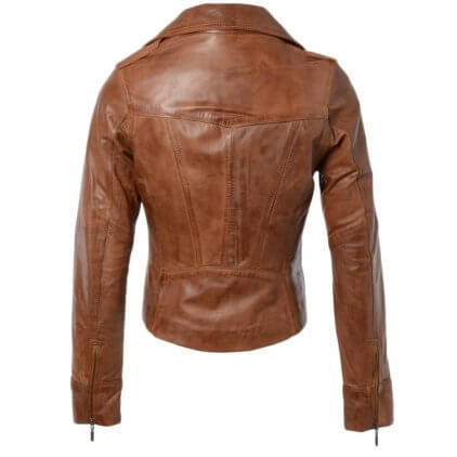 Faney Women's Brown Vintage Leather Jacket