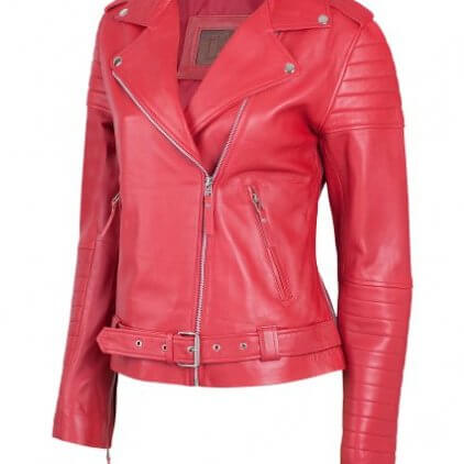 Padded Women's Red Leather Biker Jacket
