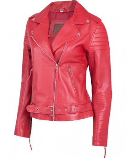 Padded Women's Red Leather Biker Jacket