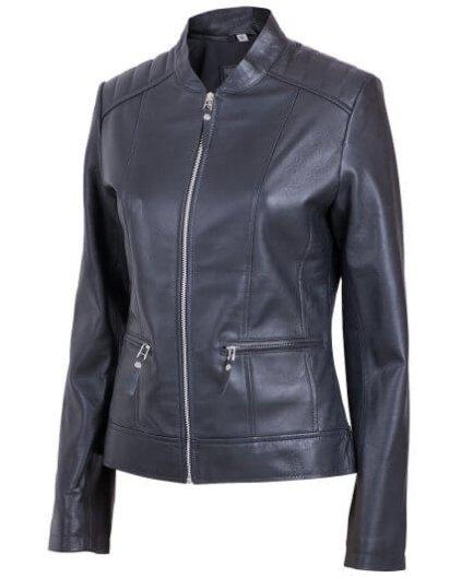 Launy Women's Black Leather Biker Jacket