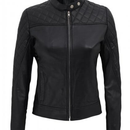 Ellen Women's Black Leather Biker Jacket