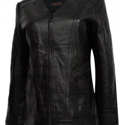 Fanzy Women's Black Leather Biker Jacket