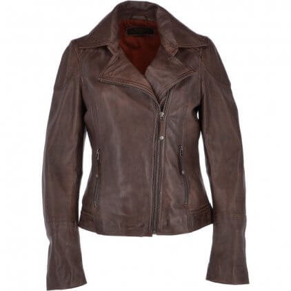 Grany Women's Brown Vintage Leather Jacket