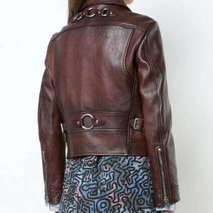 Elley Brown Leather Biker Jacket