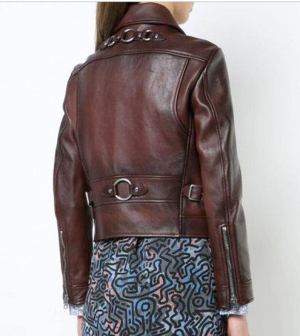 Elley Brown Leather Biker Jacket