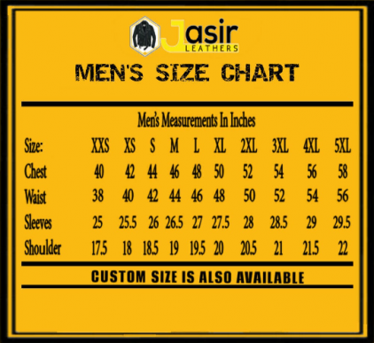 Size measuring chart, Size measures, Men's chart, Inch chart, measuring guide.